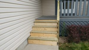 Luke and his dad rebuilt our front steps a few weeks ago. A major upgrade, since our old ones had mushrooms growing out of them!